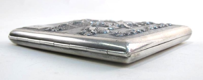 VINTAGE CHINESE EMBOSSED SILVER CIGARETTE CASE - 2