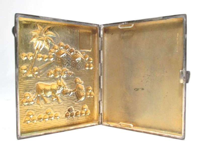 VINTAGE CHINESE EMBOSSED SILVER CIGARETTE CASE - 3