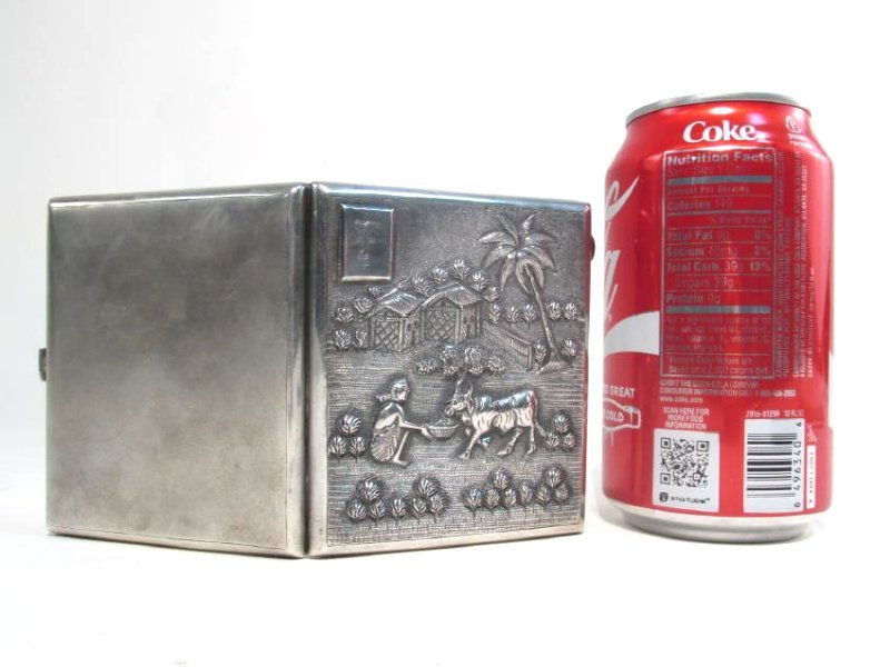 VINTAGE CHINESE EMBOSSED SILVER CIGARETTE CASE - 8