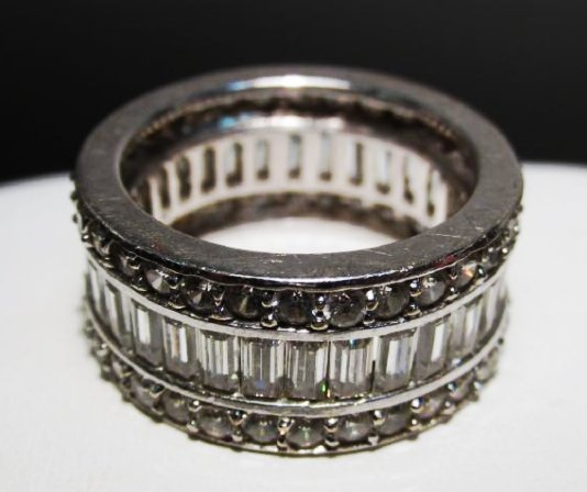 HEAVY 14K WHITE GOLD COCKTAIL RING SIZE 8
