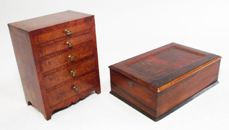 ANTIQUE SALESMAN SAMPLE PARQUETRY CHEST & A BOX