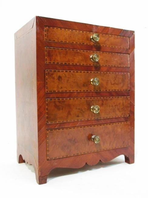 ANTIQUE SALESMAN SAMPLE PARQUETRY CHEST & A BOX - 2
