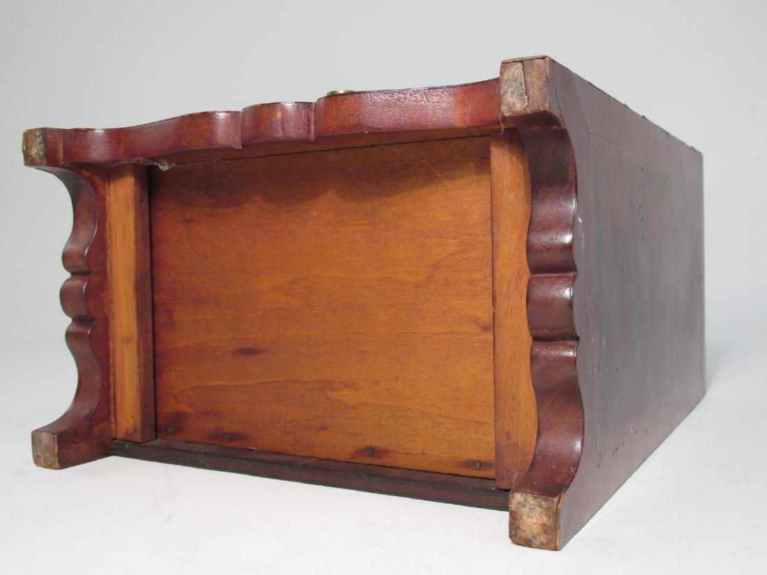 ANTIQUE SALESMAN SAMPLE PARQUETRY CHEST & A BOX - 5