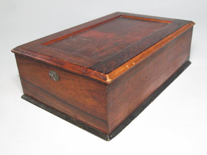 ANTIQUE SALESMAN SAMPLE PARQUETRY CHEST & A BOX - 6