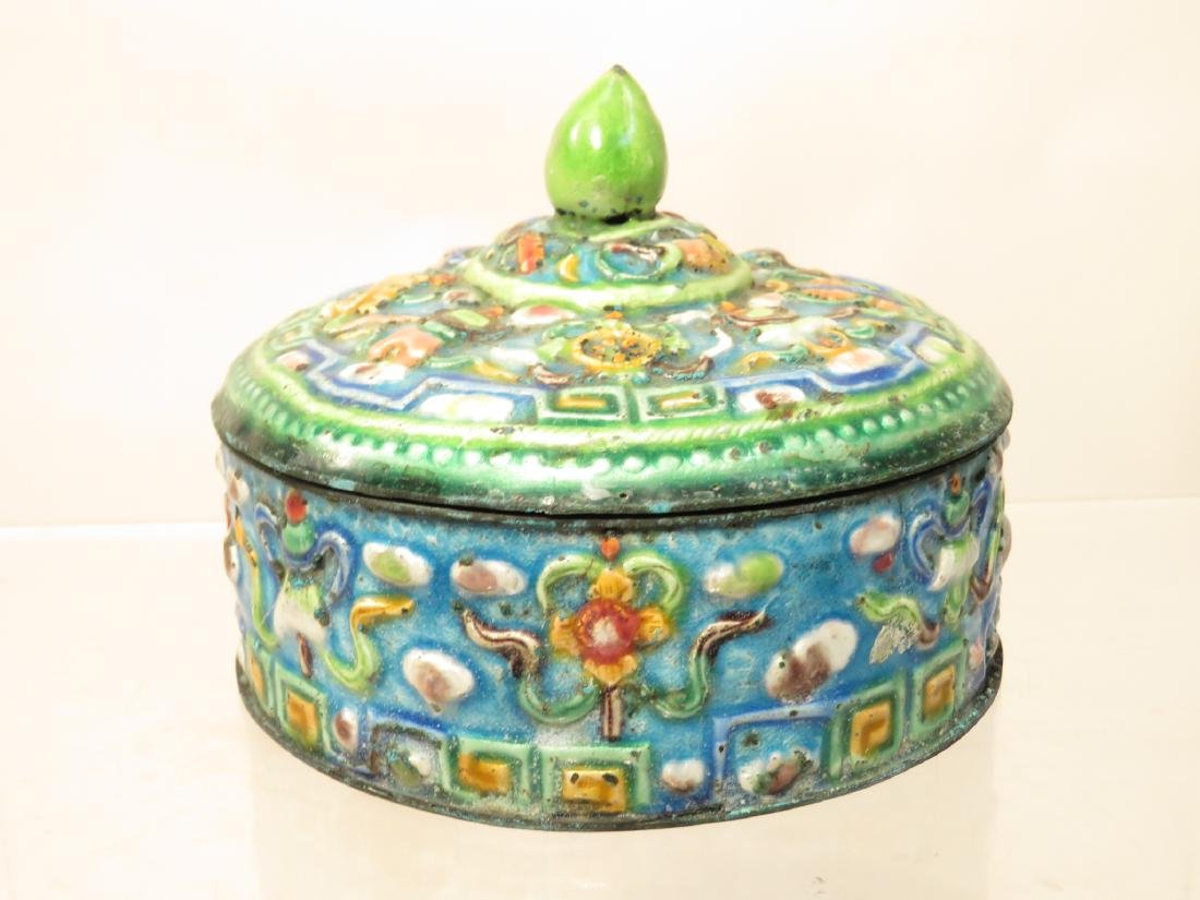 ANTIQUE CHINESE ENAMELED ROUND COVERED BOX