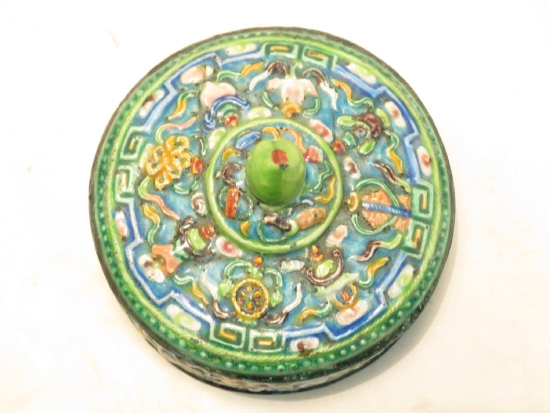ANTIQUE CHINESE ENAMELED ROUND COVERED BOX - 2