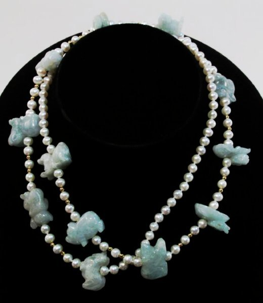 CHINESE ZODIAC ANIMAL CARVED JADE & PEARL NECKLACE