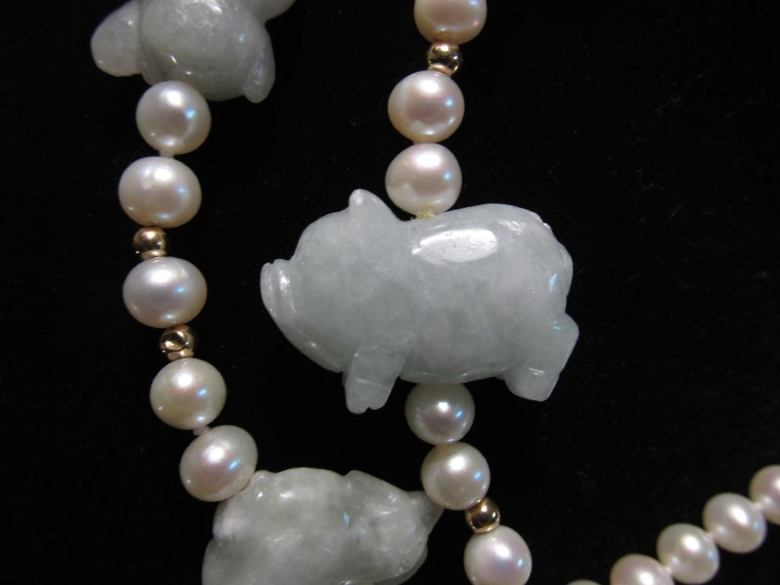 CHINESE ZODIAC ANIMAL CARVED JADE & PEARL NECKLACE - 3