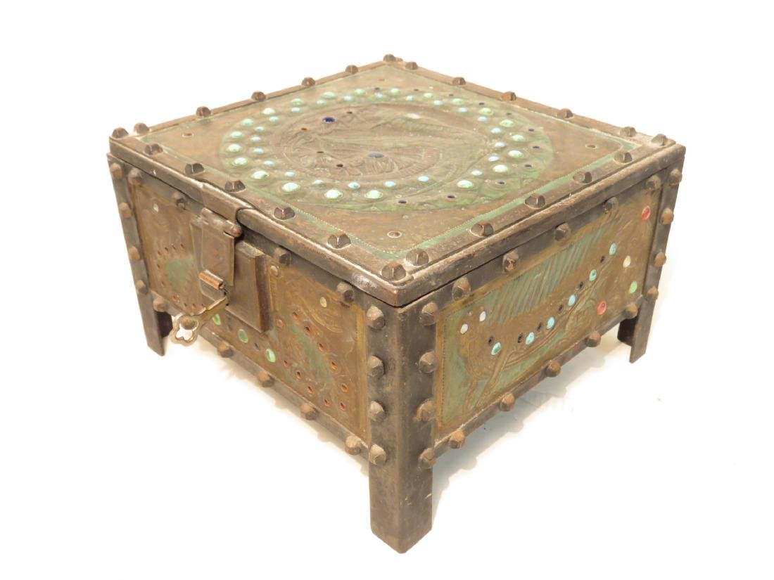 ALFRED DAGUET ART NOUVEAU JEWELED & EMBOSSED BOX