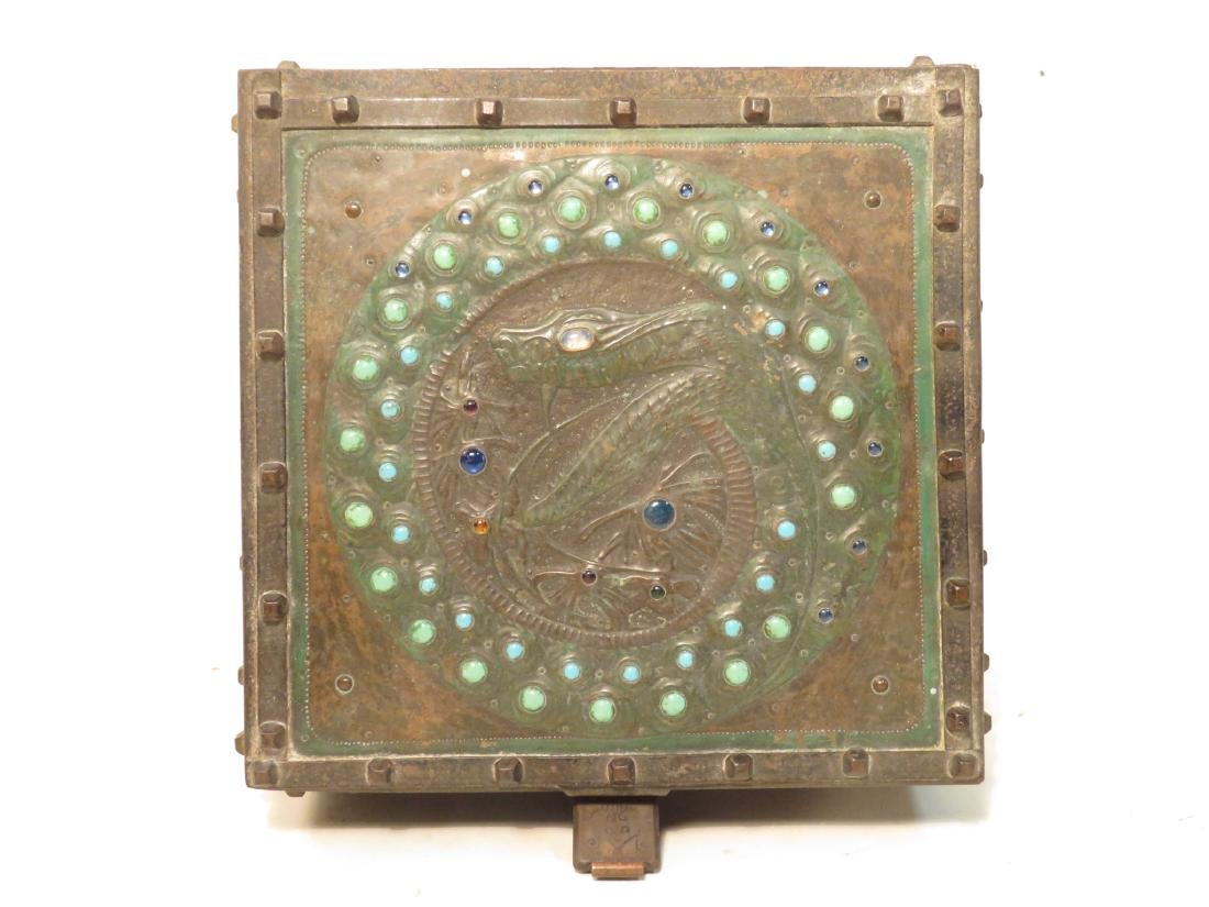 ALFRED DAGUET ART NOUVEAU JEWELED & EMBOSSED BOX - 2