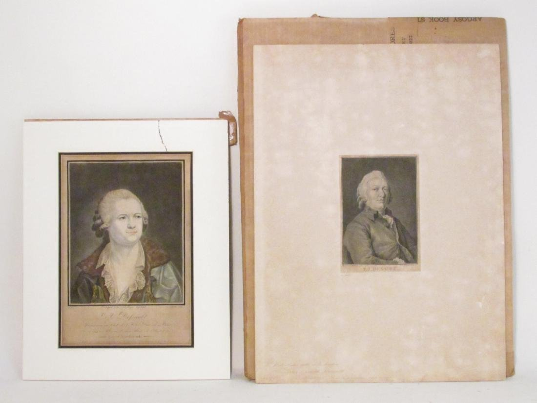 TWO ANTIQUE P.J. DESAULT INTAGLIO PRINTS: HAND COL