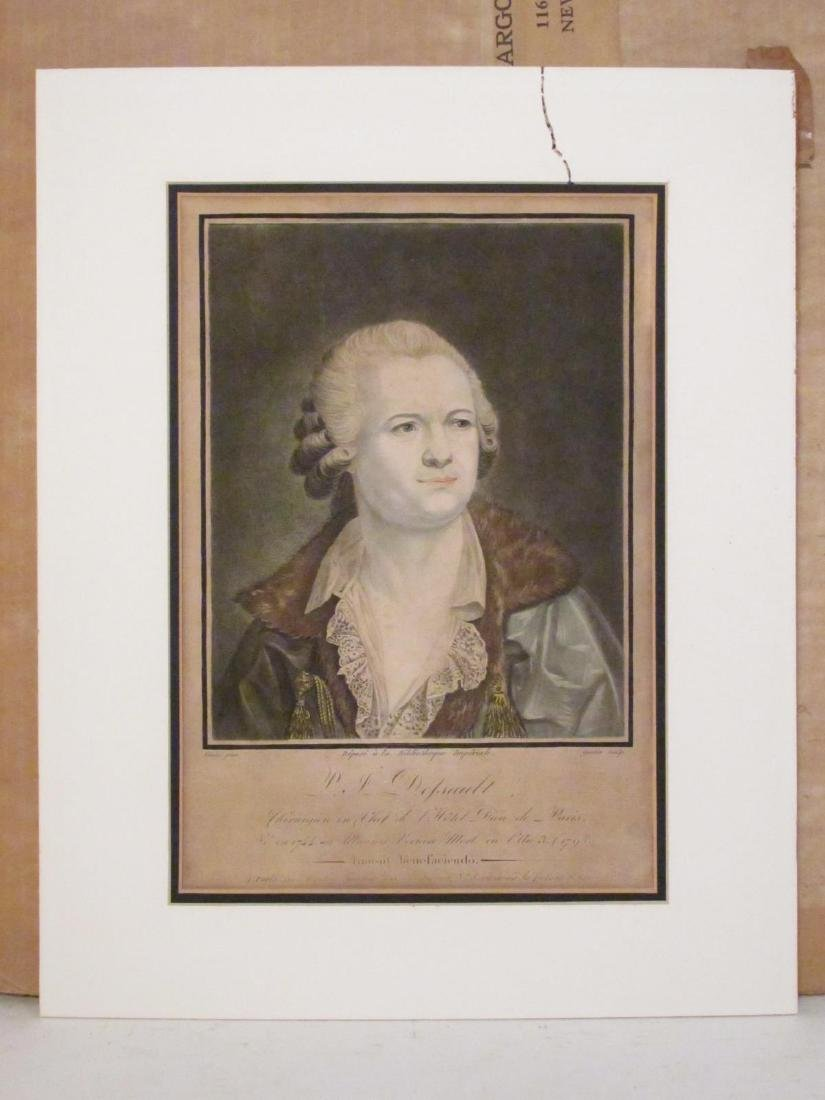 TWO ANTIQUE P.J. DESAULT INTAGLIO PRINTS: HAND COL - 2