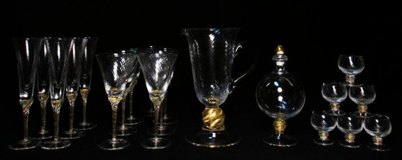 VENETIAN GOLD FLECKED SWIRLED GLASS STEMWARE ETC.