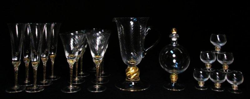 VENETIAN GOLD FLECKED SWIRLED GLASS STEMWARE ETC.