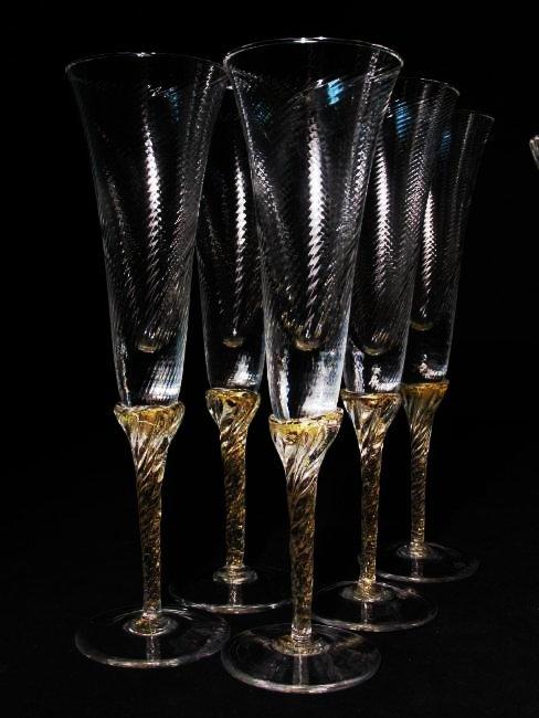 VENETIAN GOLD FLECKED SWIRLED GLASS STEMWARE ETC. - 2