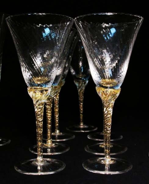 VENETIAN GOLD FLECKED SWIRLED GLASS STEMWARE ETC. - 3