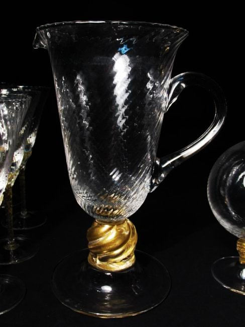 VENETIAN GOLD FLECKED SWIRLED GLASS STEMWARE ETC. - 4