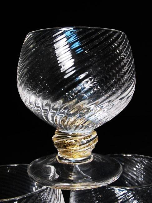 VENETIAN GOLD FLECKED SWIRLED GLASS STEMWARE ETC. - 7