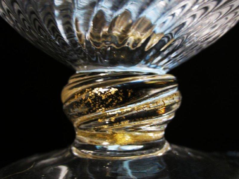 VENETIAN GOLD FLECKED SWIRLED GLASS STEMWARE ETC. - 8