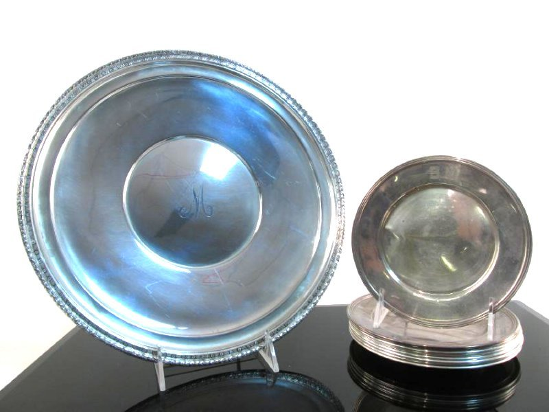 STERLING SILVER CHARGER & BREAD PLATES: 37.5 TROY