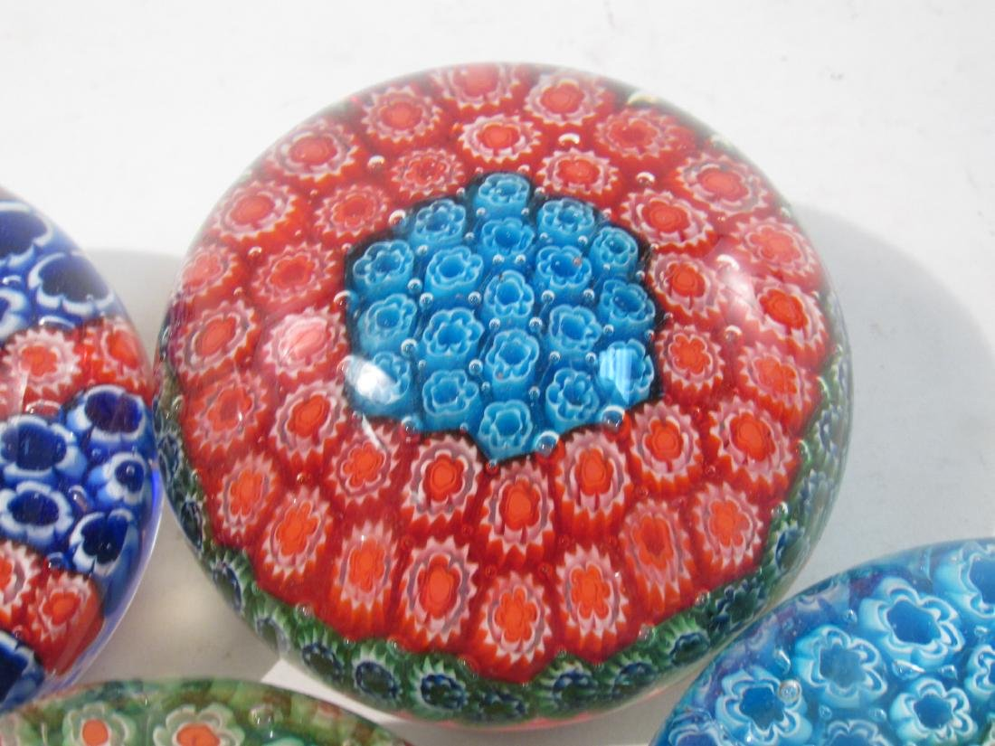 ITALIAN MURANO ART GLASS MILLEFIORI PAPERWEIGHTS 8 - 9