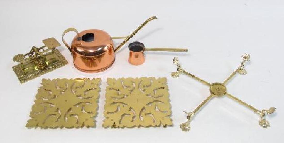 BRASS & COPPER LOT: TEAPOT, POSTAL SCALE, STANDS,
