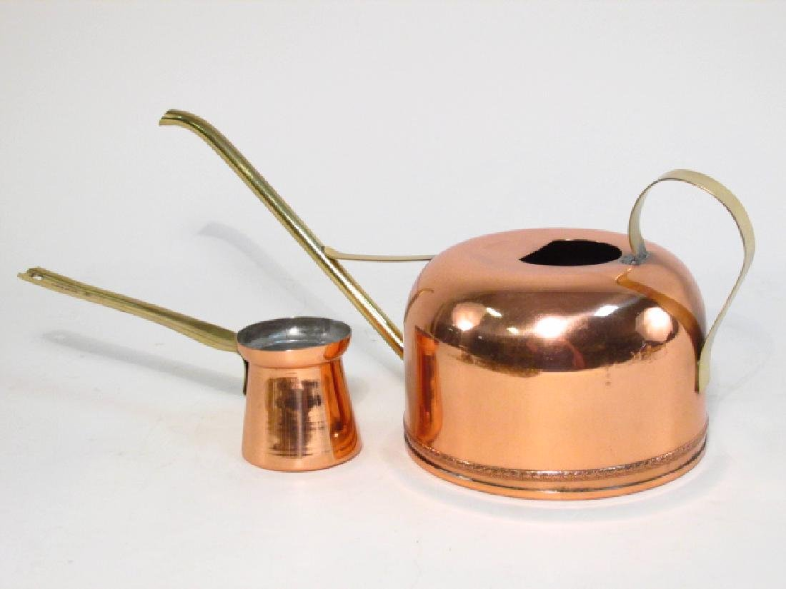 BRASS & COPPER LOT: TEAPOT, POSTAL SCALE, STANDS, - 4