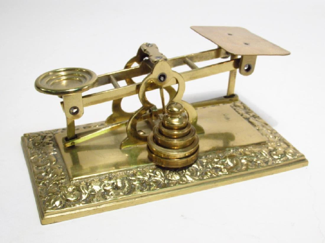 BRASS & COPPER LOT: TEAPOT, POSTAL SCALE, STANDS, - 7