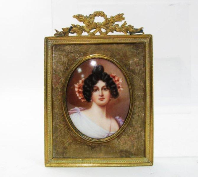 ANTIQUE GERMAN PORTRAIT ON PORCELAIN PLAQUE