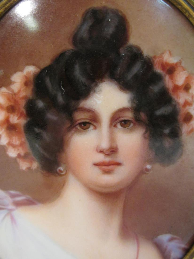 ANTIQUE GERMAN PORTRAIT ON PORCELAIN PLAQUE - 2