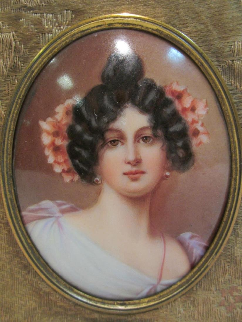 ANTIQUE GERMAN PORTRAIT ON PORCELAIN PLAQUE - 3