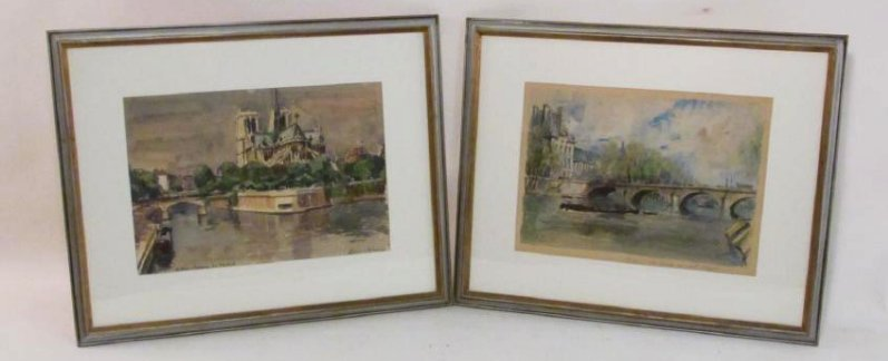 TWO P.E. CAMBIER FRAMED WATERCOLOR PAINTINGS