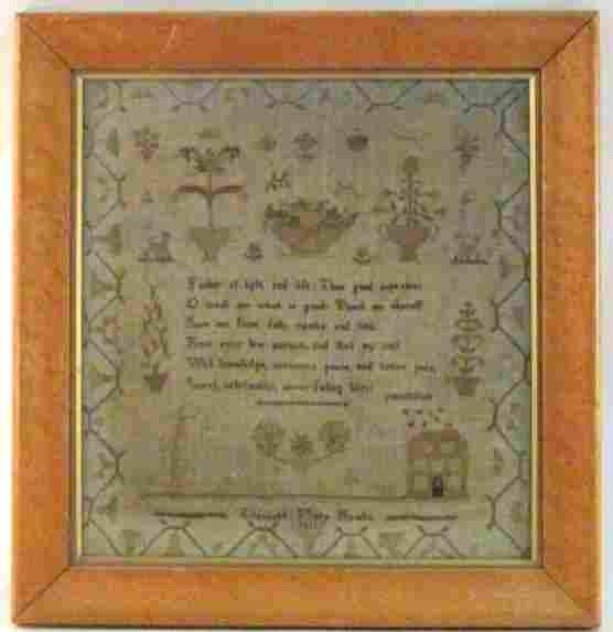 EARLY 19TH CENTURY FRAMED NEEDLEPOINT SAMPLER