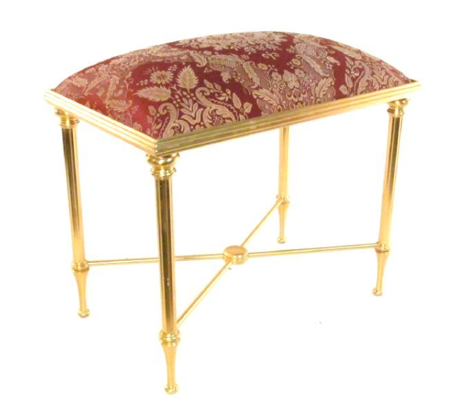 SHERLE WAGNER GILDED METAL VANITY BANQUETTE BENCH