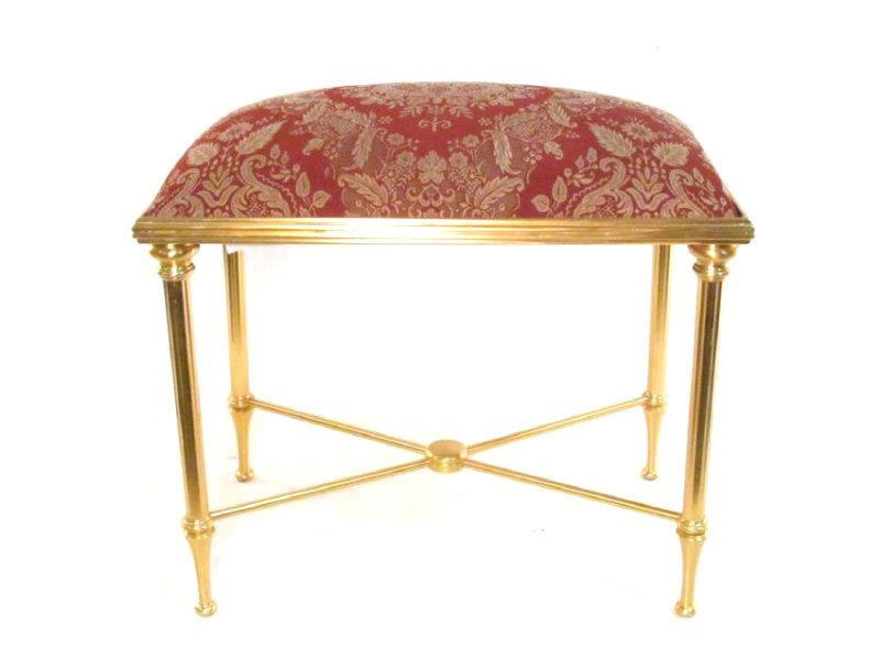 SHERLE WAGNER GILDED METAL VANITY BANQUETTE BENCH - 2