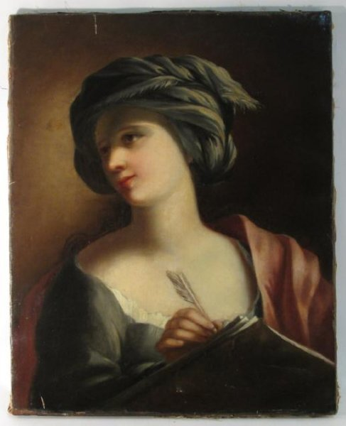 ANTIQUE OIL ON CANVAS PAINTING OF A WOMAN