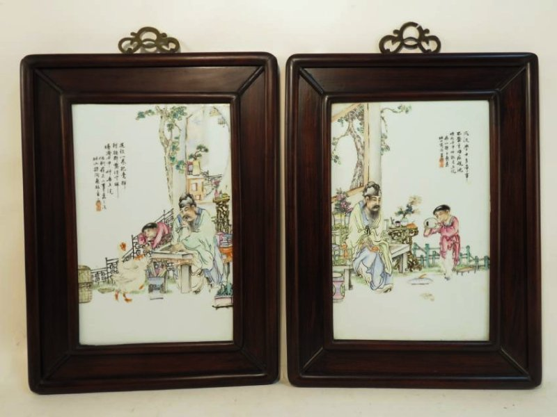 PAIR CHINESE HAND PAINTED PORCELAIN PLAQUES