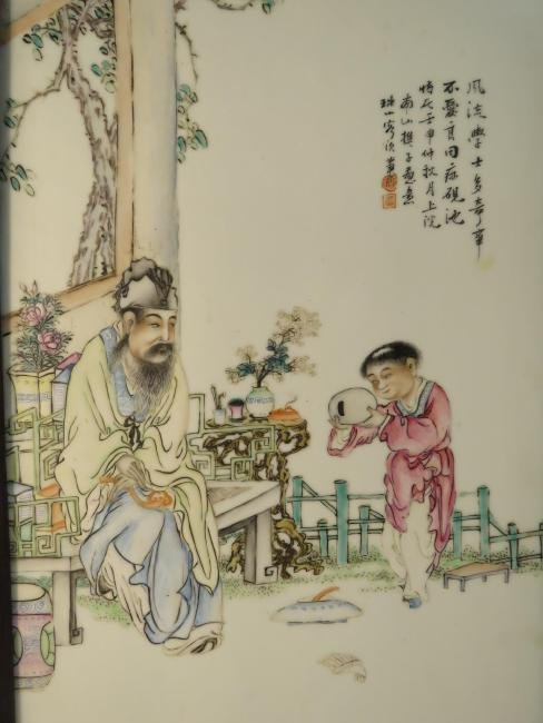 PAIR CHINESE HAND PAINTED PORCELAIN PLAQUES - 2