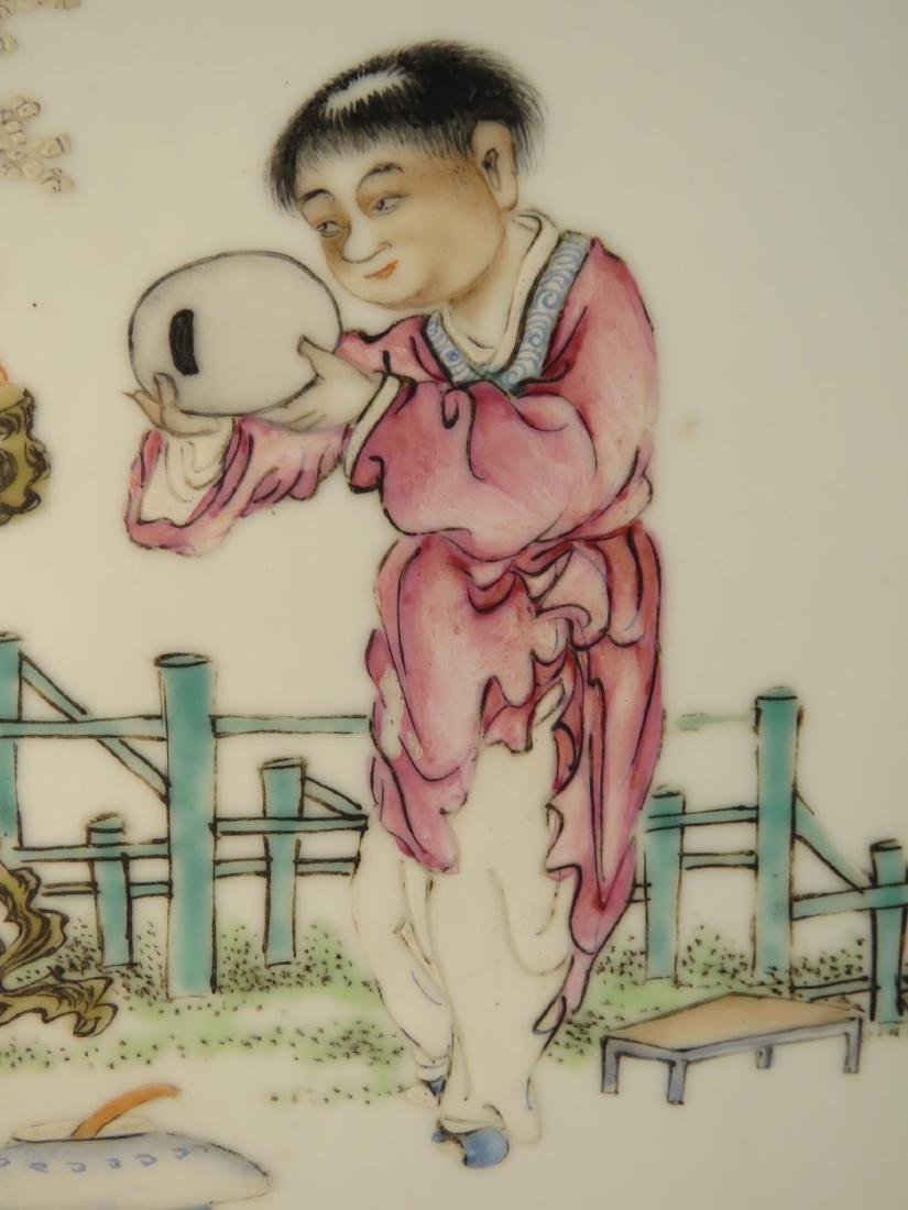 PAIR CHINESE HAND PAINTED PORCELAIN PLAQUES - 3
