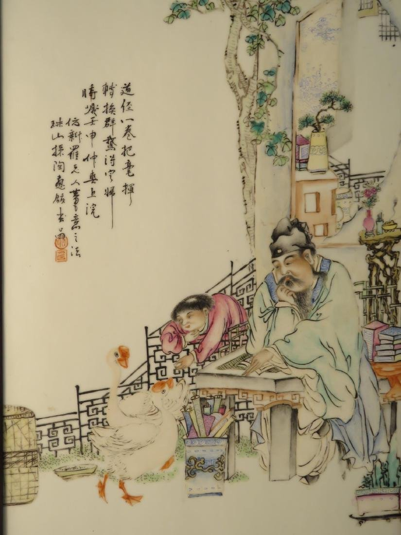 PAIR CHINESE HAND PAINTED PORCELAIN PLAQUES - 6