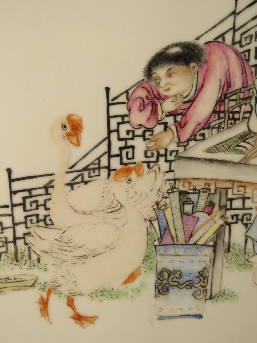 PAIR CHINESE HAND PAINTED PORCELAIN PLAQUES - 7