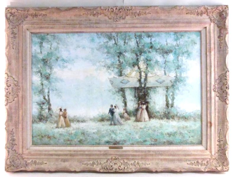 VINTAGE FRAMED OIL ON CANVAS PAINTING DU BOIS