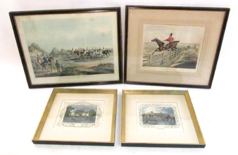 FOUR VINTAGE HAND COLORED ENGRAVINGS & LITHOGRAPHS