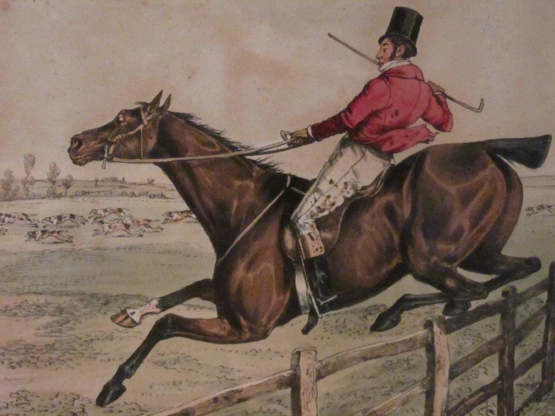 FOUR VINTAGE HAND COLORED ENGRAVINGS & LITHOGRAPHS - 3