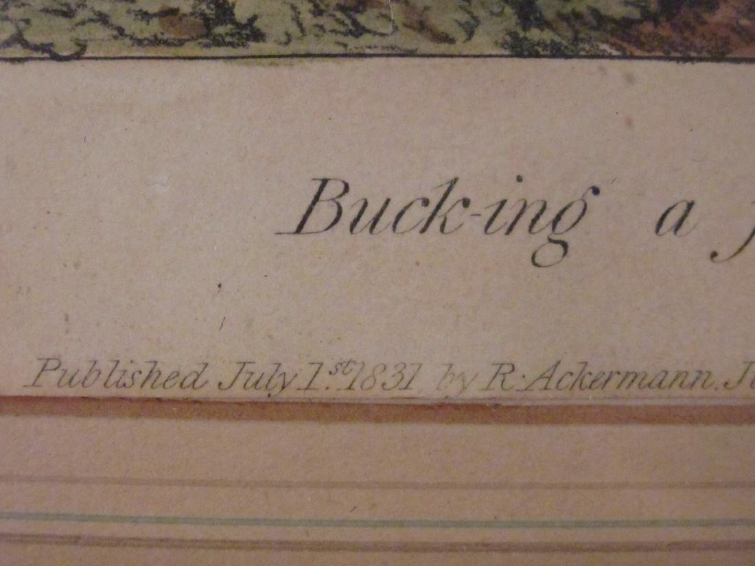 FOUR VINTAGE HAND COLORED ENGRAVINGS & LITHOGRAPHS - 4