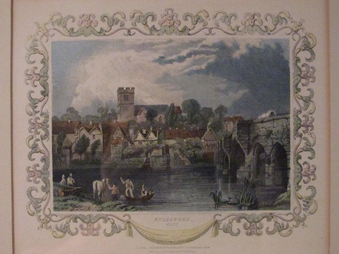 FOUR VINTAGE HAND COLORED ENGRAVINGS & LITHOGRAPHS - 7