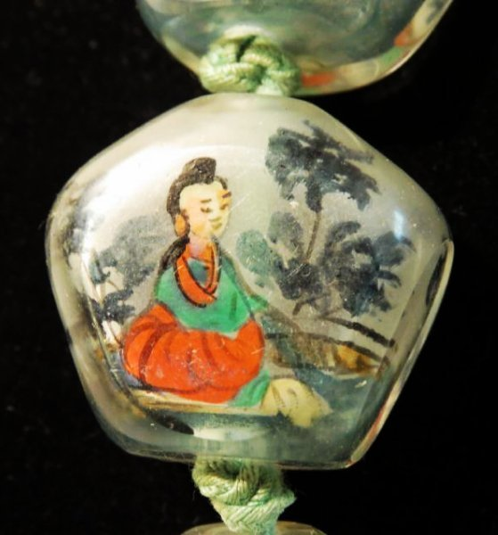 VINTAGE CHINESE INSIDE PAINTED GLASS BEAD NECKLACE - 3