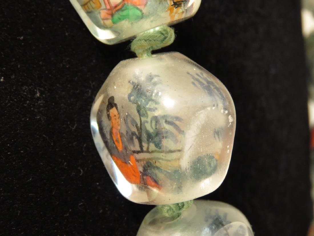 VINTAGE CHINESE INSIDE PAINTED GLASS BEAD NECKLACE - 4