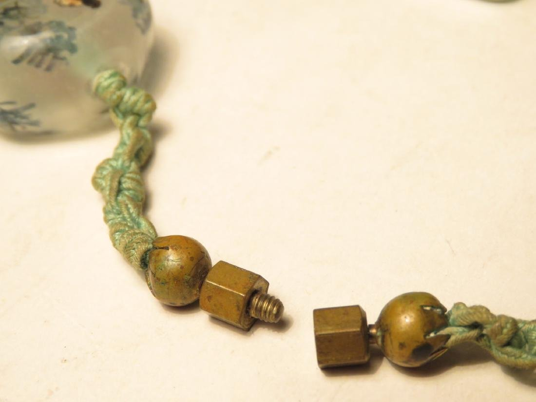 VINTAGE CHINESE INSIDE PAINTED GLASS BEAD NECKLACE - 5