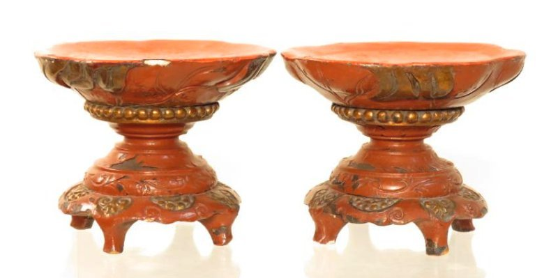 PAIR CHINESE QING DYN RED LACQUER WARE CANDLEHOLDE